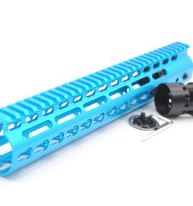 New NSR 12 Inch Length Blue Free Floating Black KeyMod AR15 Handguard With Rail Mount Steel Barrel Nut