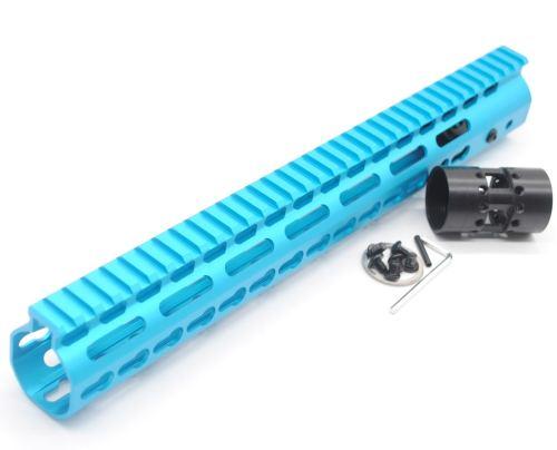 New NSR 13.5 Inch Length Blue Free Floating Black KeyMod AR15 Handguard With Rail Mount Steel Barrel Nut