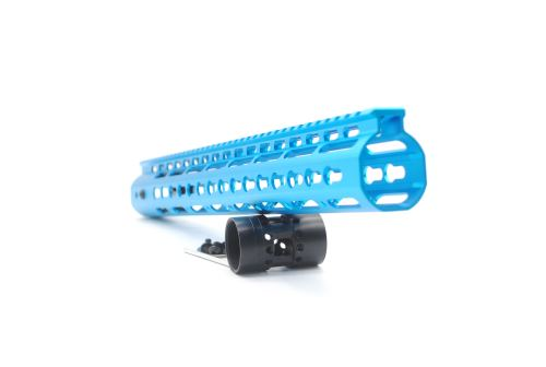 New NSR 15 Inch Length Blue Free Floating Black KeyMod AR15 Handguard With Rail Mount Steel Barrel Nut
