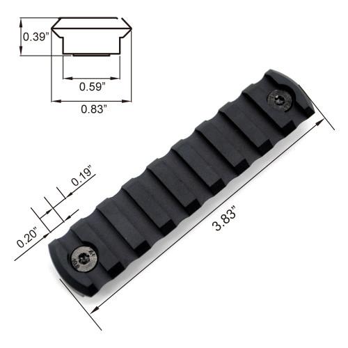 Black Color Aluminum 9 slots M-lok picatinny Rail Section in 3.83