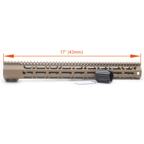 New Clamp Style Low profile TAN / FDE 17 inches .308/7.62 LR_308 DPMS M-LOK Rail Mount System Ultra slim Free Float Handguard