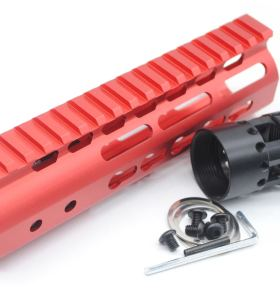 New NSR 7 Inch Length Red Free Floating KeyMod AR15 Handguard With Rail Mount Steel Barrel Nut