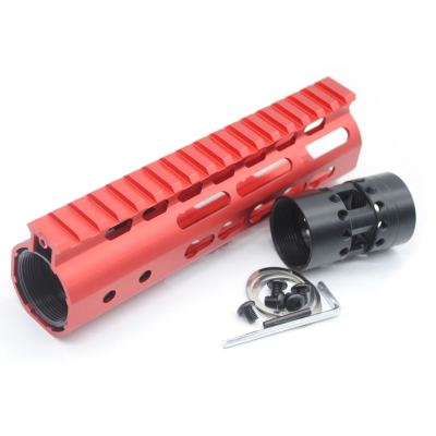 New NSR 7 Inch Length Red Free Floating Black KeyMod AR15 Handguard With Rail Mount Steel Barrel Nut