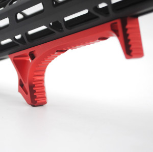 Red Aluminum LINK Curved Angled Foregrip Front Grip hand stop Fits M-LOK MLOKHandguard