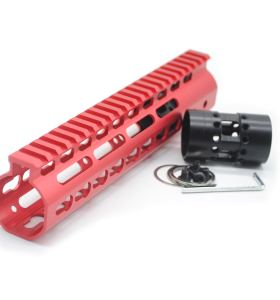 New NSR 9 Inch Length Red Free Floating KeyMod AR15 Handguard With Rail Mount Steel Barrel Nut