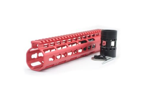 New NSR 10 Inch Length Red Free Floating KeyMod AR15 Handguard With Rail Mount Steel Barrel Nut