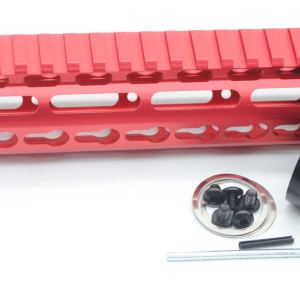 New NSR 10 Inch Length Red Free Floating Black KeyMod AR15 Handguard With Rail Mount Steel Barrel Nut
