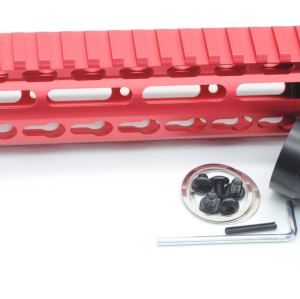 New NSR 12 Inch Length Red Free Floating Black KeyMod AR15 Handguard With Rail Mount Steel Barrel Nut