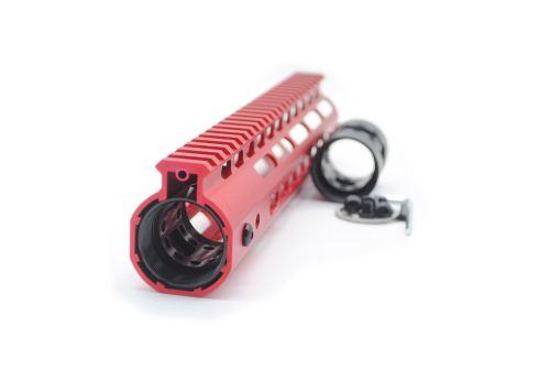 New NSR 12 Inch Length Red Free Floating Black KeyMod AR15 Handguard With Rail Mount Steel Barrel Nut