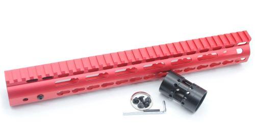 New NSR 13.5 Inch Length Red Free Floating KeyMod AR15 Handguard With Rail Mount Steel Barrel Nut