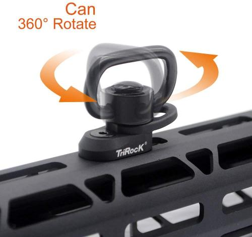 Trirock M-lok Sling Swivel Square Loop with Push Button QD Base & Sling Mount with a Hole for Snap Clip Hook Spring