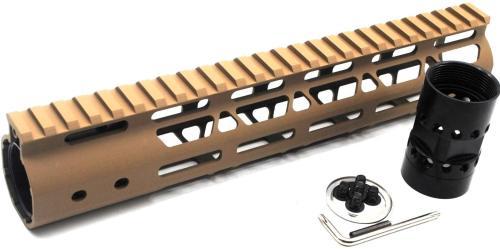 Trirock NSR Lightweight Tan/FDE 10 inches One Piece Style AR-15 System M-LOK Free Float AR15 Handguard with steel barrel nut