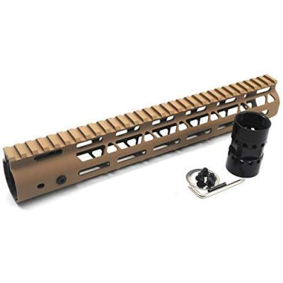 Trirock NSR Lightweight Tan/FDE 12 inches One Piece Style AR-15 System M-LOK Free Float AR15 Handguard with steel barrel nut
