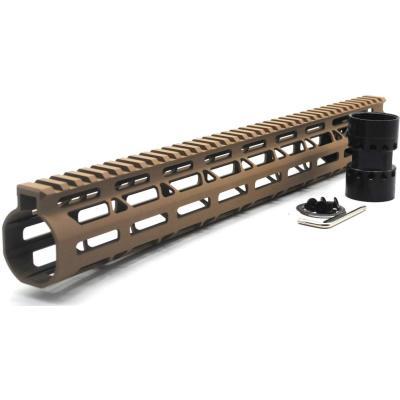 Trirock NSR Lightweight Tan/FDE 15 inches One Piece Style AR-15 System M-LOK Free Float AR15 Handguard with steel barrel nut