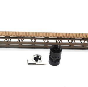 Trirock NSR Lightweight Tan/FDE 15 inches One Piece Style AR-15 System M-LOK Free Float AR15 Handguard with steel barrel nut