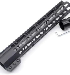 Trirock New Clamp On Black Tactical 12 inches Keymod handguard for AR15 M4 M16 with Steel Barrel Nut fits .223/5.56 rifles