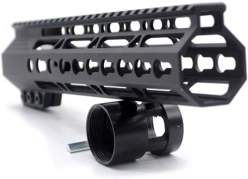 Trirock New Clamp On Black Tactical 10 inches Keymod handguard for AR15 M4 M16 with Steel Barrel Nut fits .223/5.56 rifles