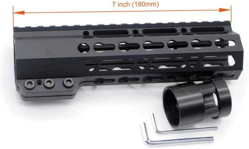 Trirock New Clamp On Black Tactical 7 inches Keymod handguard for AR15 M4 M16 with Steel Barrel Nut fits .223/5.56 rifles