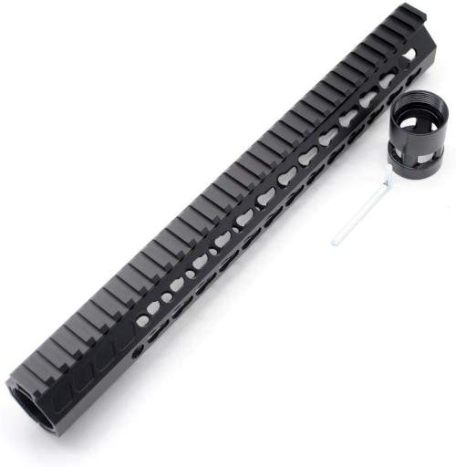 Trirock New Clamp On Black Tactical 13.5 inches Keymod handguard for AR15 M4 M16 with Steel Barrel Nut fits .223/5.56 rifles