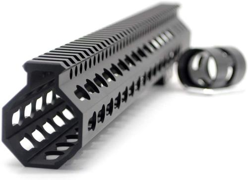 Trirock New Clamp On Black Tactical 15 inches Keymod handguard for AR15 M4 M16 with Steel Barrel Nut fits .223/5.56 rifles