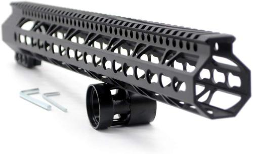 Trirock New Clamp On Black Tactical 17 inches Keymod handguard for AR15 M4 M16 with Steel Barrel Nut fits .223/5.56 rifles