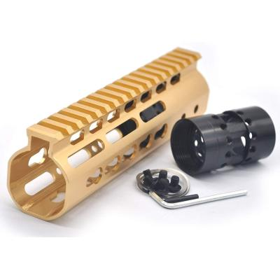 Gold NSR 7 Inches Free Float KeyMod AR15 AR-15 Handguard with Rail Mounted Steel Barrel Nut fit .223 5.56 rifles