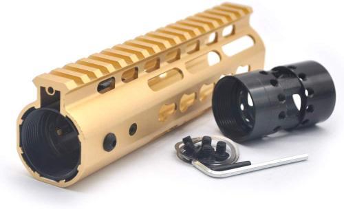 Gold NSR 7 Inches Free Float KeyMod AR15 AR-15 Handguard with Rail Mounted Steel Barrel Nut fit .223 5.56 rifles