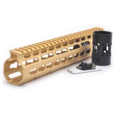 Gold NSR 10 Inches Free Float KeyMod AR15 AR-15 Handguard with Rail Mounted Steel Barrel Nut fit .223 5.56 rifles
