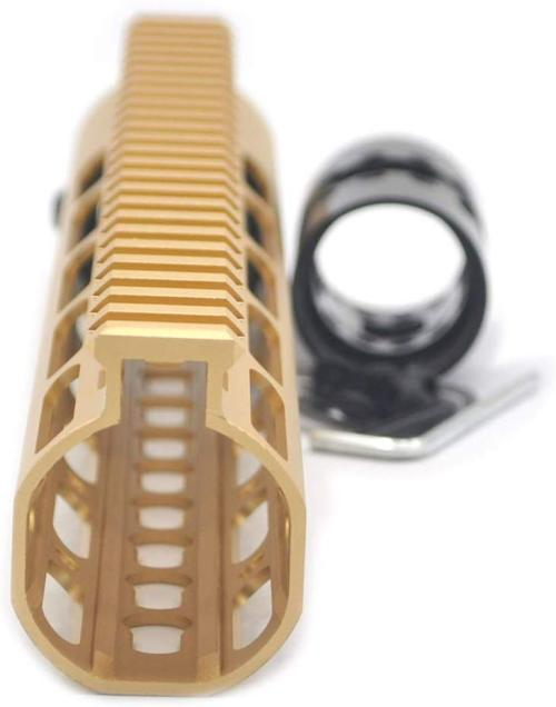 Gold NSR 10 Inches Free Float KeyMod AR15 AR-15 Handguard with Rail Mounted Steel Barrel Nut fit .223 5.56 rifles