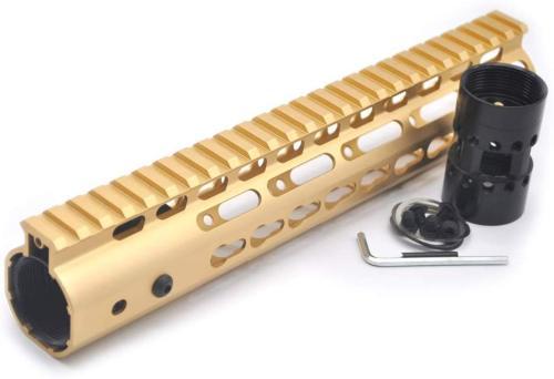 Gold NSR 10 Inch Free Float KeyMod AR15 AR-15 Handguard with Rail Mounted Steel Barrel Nut fit .223 5.56 rifles