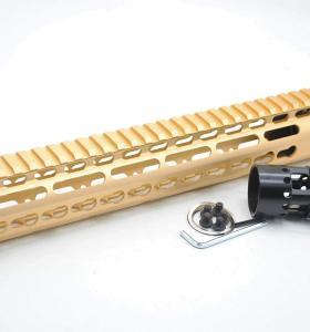 Gold NSR 12 Inches Free Float KeyMod AR15 AR-15 Handguard with Rail Mounted Steel Barrel Nut fit .223 5.56 rifles