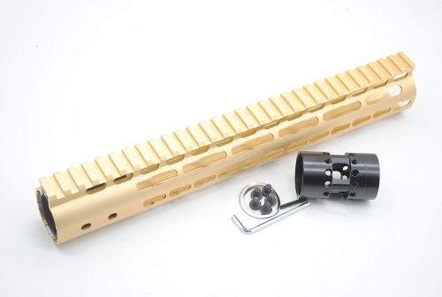 Gold NSR 12 Inches Free Float KeyMod AR15 AR-15 Handguard with Rail Mounted Steel Barrel Nut fit .223 5.56 rifles