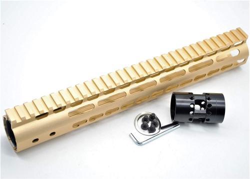 Gold NSR 12 Inch Free Float KeyMod AR15 AR-15 Handguard with Rail Mounted Steel Barrel Nut fit .223 5.56 rifles
