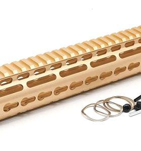 Gold NSR 15 Inches Free Float KeyMod AR15 AR-15 Handguard with Rail Mounted Steel Barrel Nut fit .223 5.56 rifles