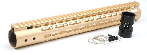 Gold NSR 15 Inch Free Float KeyMod AR15 AR-15 Handguard with Rail Mounted Steel Barrel Nut fit .223 5.56 rifles