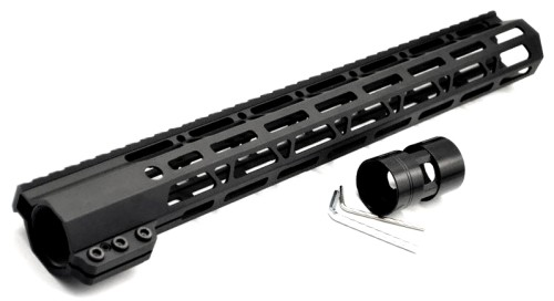 Clamp On Black Tactical 15 inch M-LOK handguard for AR15 M4 M16 with Steel Barrel Nut fits .223/5.56 rifles