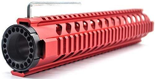 Trirock Red 12'' Length Quad Rail Handguard Free Float Rail System M16 / AR15