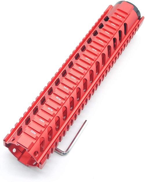 Trirock Red 12'' Length Quad Rail Handguard Free Float Rail System M16 / AR15