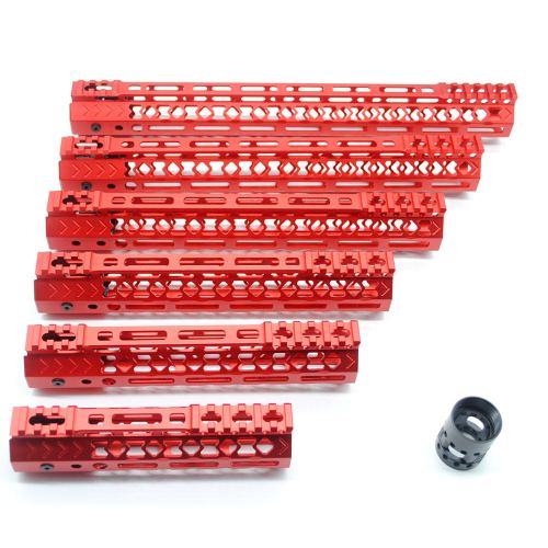 6-pack New Aplus NSR style Red M-LOK free float AR15 handguard mlok bevel edge fits .223/5.56 rifles with steel barrel nut