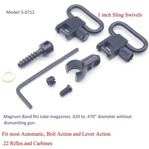 TRIROCK 1.0'' Rifle Lever Action Quick Detachable Sling Swivels & Screw Stud Base Mount Kit 22 Cal Split Band Fits Most .22 Caliber Rifles