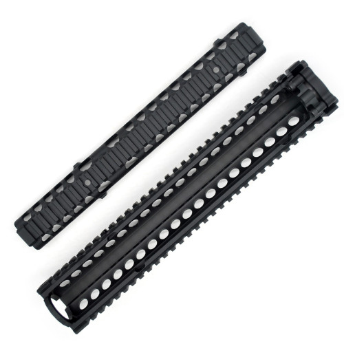 TRIROCK Two-pieces design 12.7 inch Drop-in Black Quad Rail handguard for MK18 Rifle interface system For Fitting .223 cal.