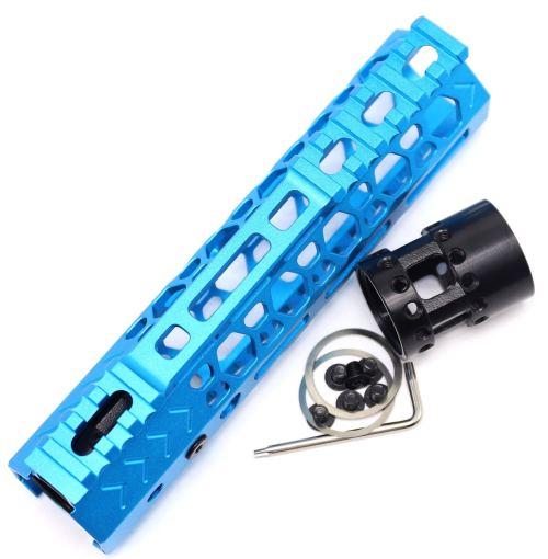 Aplus NSR style Blue 7 inch M-LOK free float AR15 handguard mlok bevel edge fits .223/5.56 rifles with steel barrel nut