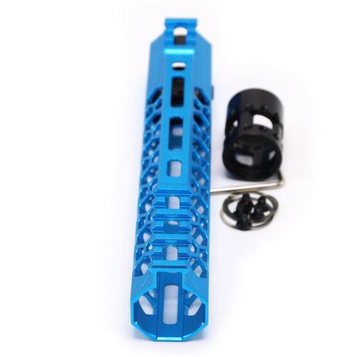 Aplus NSR style Blue 9 inch M-LOK free float AR15 handguard mlok bevel edge fits .223/5.56 rifles with steel barrel nut