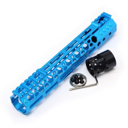 Aplus NSR style Blue 10 inch M-LOK free float AR15 handguard mlok bevel edge fits .223/5.56 rifles with steel barrel nut