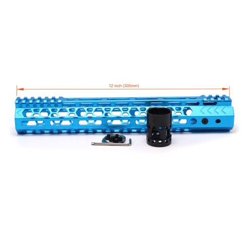 Aplus NSR style Blue 12 inch M-LOK free float AR15 handguard mlok bevel edge fits .223/5.56 rifles with steel barrel nut