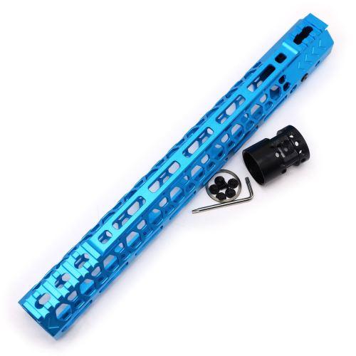 Aplus NSR style Blue 13.5 inch M-LOK free float AR15 handguard mlok bevel edge fits .223/5.56 rifles with steel barrel nut