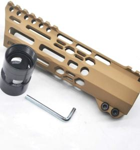 New Clamp style 7 inch Tan/ FDE M-LOK free float AR15 M16 M4 rifle handguard with a curve slant cut nose fit .223/5.56 rifles