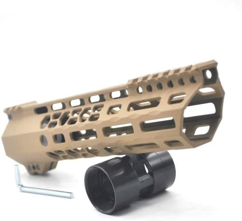New Clamp style 9 inch Tan/ FDE M-LOK free float AR15 M16 M4 rifle handguard with a curve slant cut nose fit .223/5.56 rifles