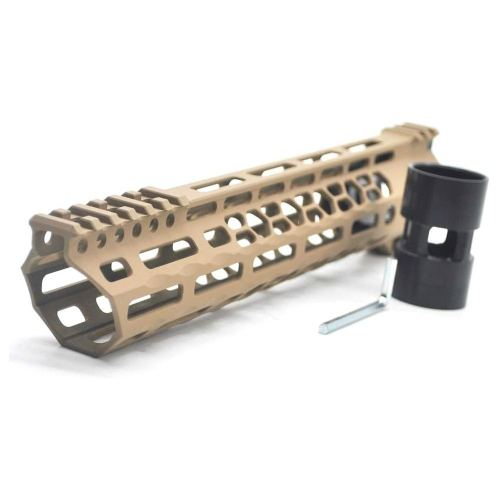 New Clamp style 11 inch Tan/ FDE M-LOK free float AR15 M16 M4 rifle handguard with a curve slant cut nose fit .223/5.56 rifles
