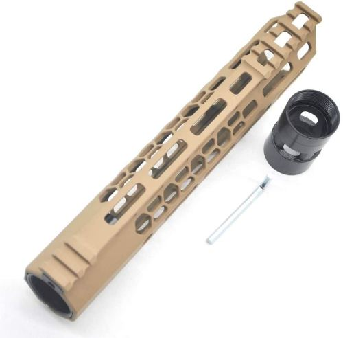 New Clamp style 10 inch Tan/ FDE M-LOK free float AR15 M16 M4 rifle handguard with a curve slant cut nose fit .223/5.56 rifles